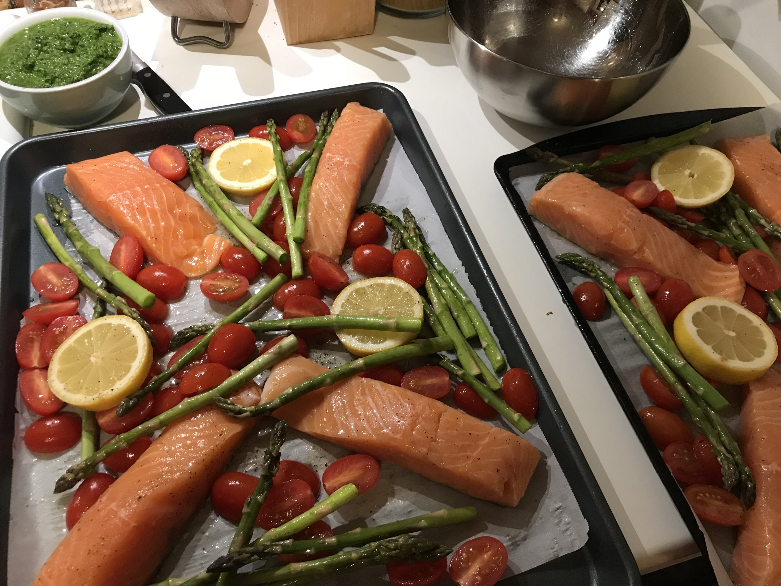 Sheet pan salmon. Technically low-carb, but also just a super healthy dinner option.