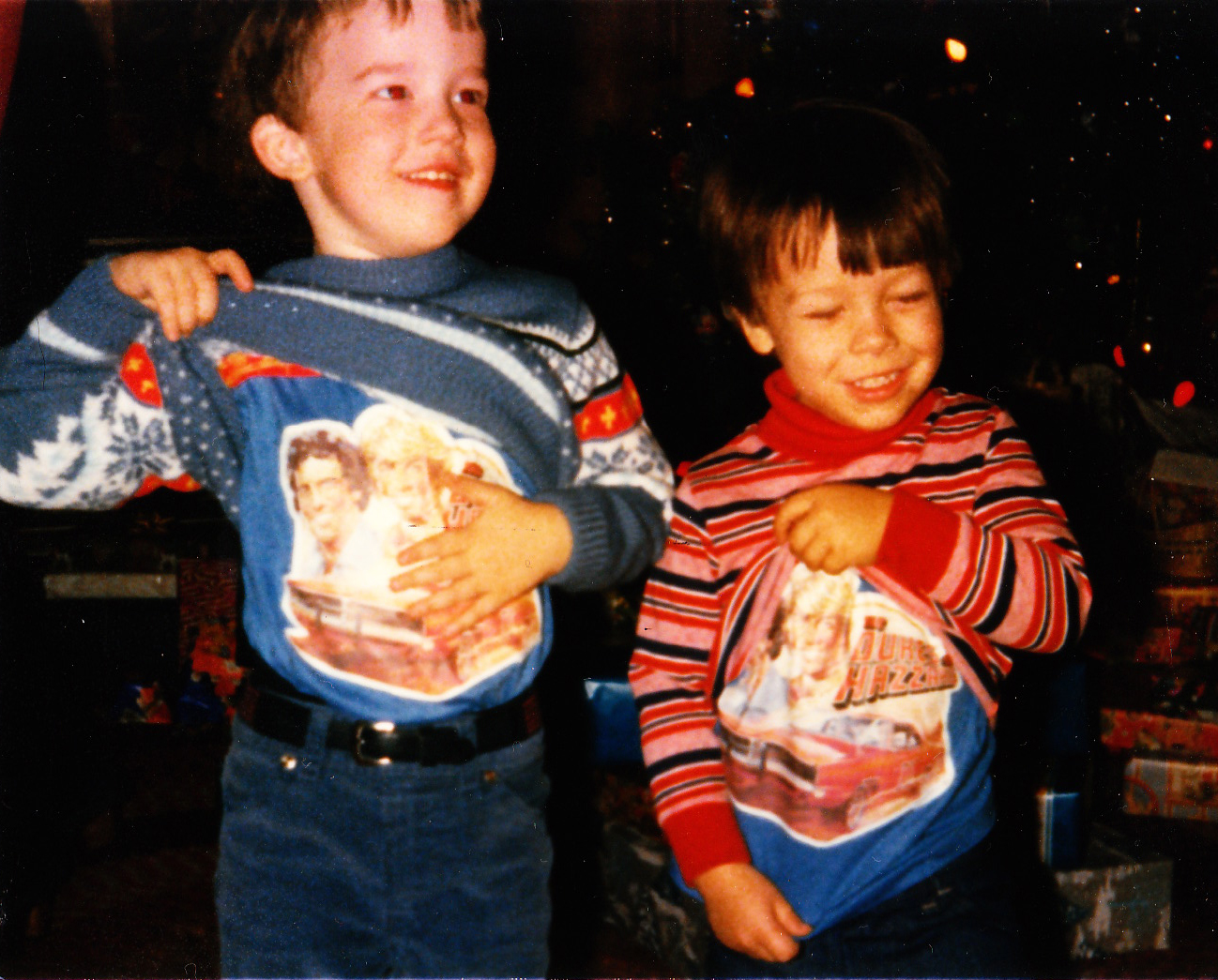 Me and my cousin, showing off our Dukes of Hazzard T-shirts.