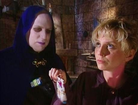 The lovely Beez McKeever, puppet costume designer, also acted in skits like this one where she played Steffi, babysitter to Bobo and Brain Guy in 908: The Touch of Satan.