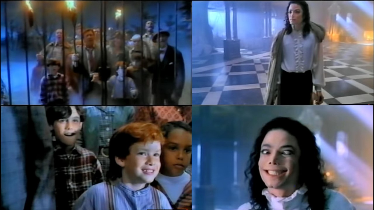 "Stills from Michael Jackson's video featurette for ""Is It Scary?,"" made for the film. The answer is - Yes, it is scary."
