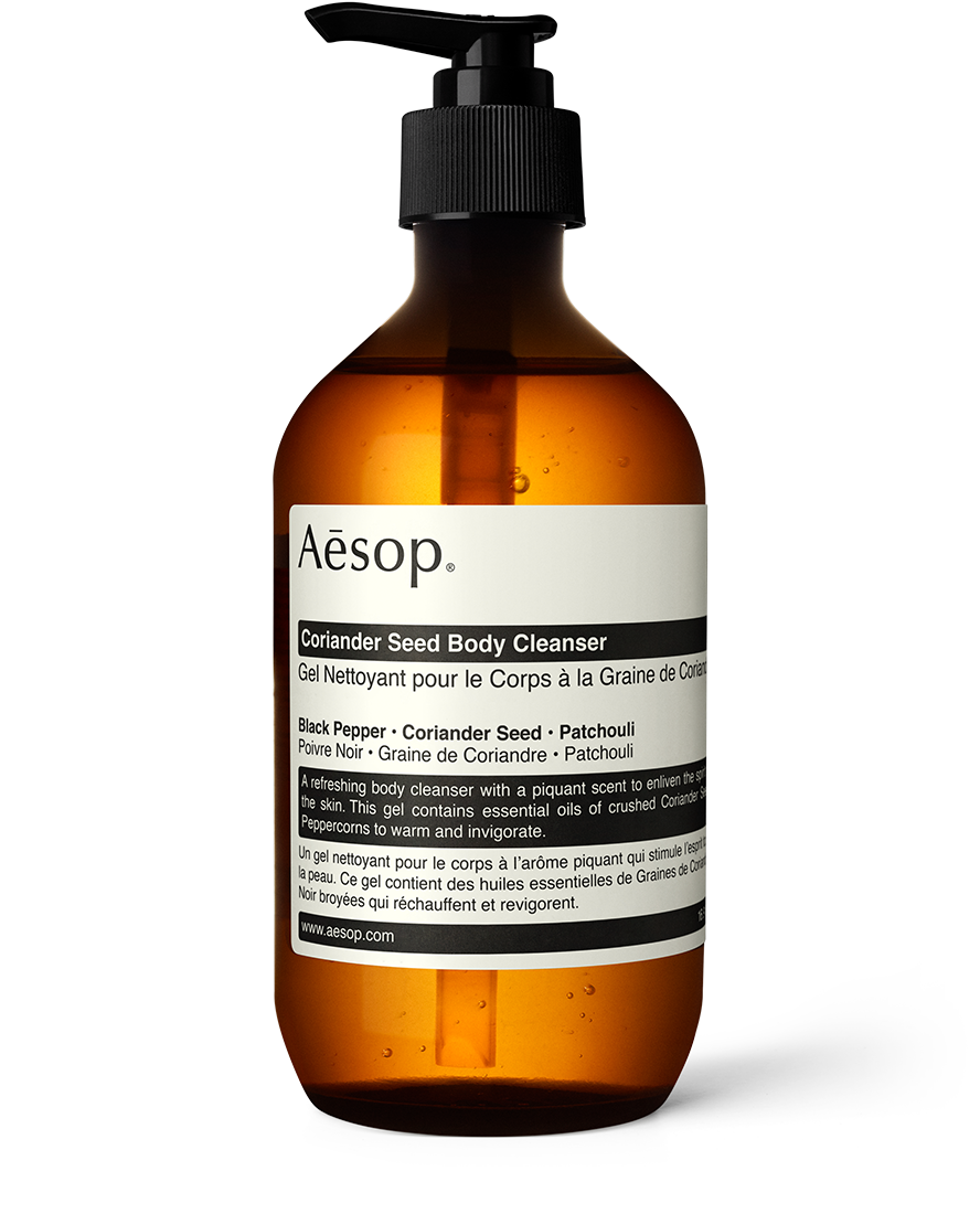 3. Aesop Body Cleanser - I'm partial to the Coriander Seed Body Cleanser; the mix of the coriander seed, black Pepper and patchouli are warm, yet lively. You really can't go wrong with this brand-you'll also find their shampoo, hand cleanser and mouthwash in my bathroom.View