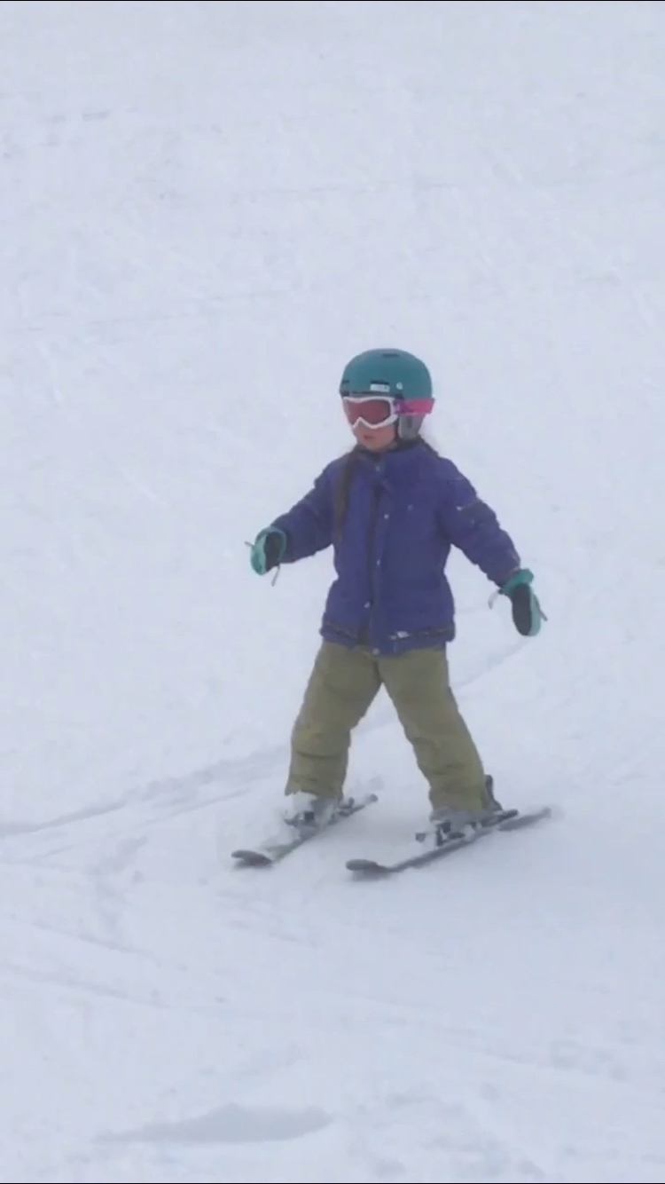 Lilja, age six, gaining confidence during her first day alpine skiing