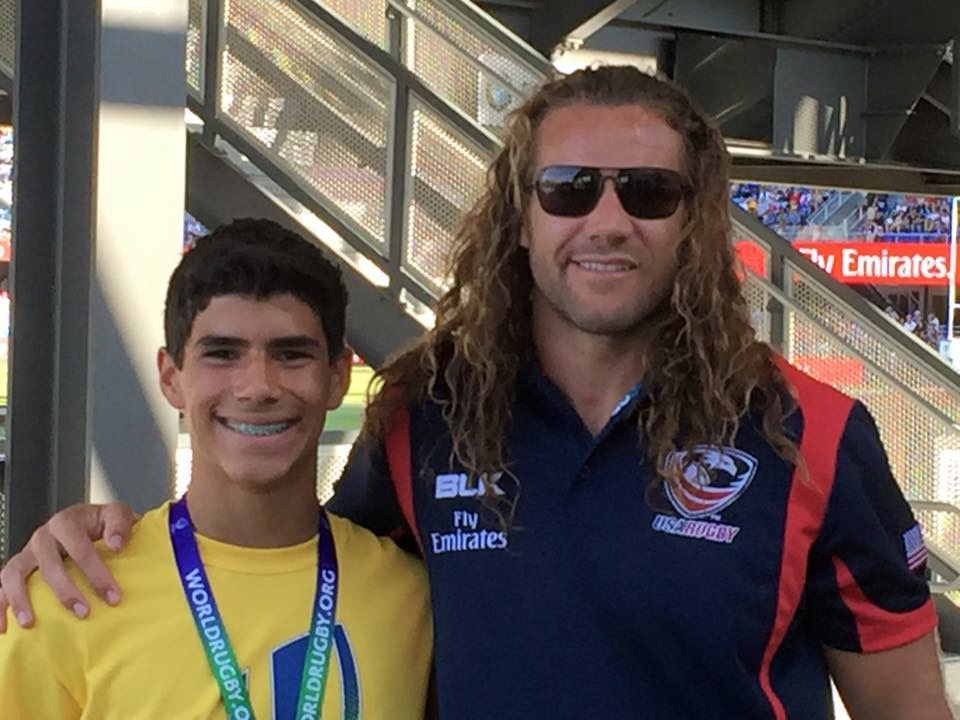 Former USA Eagles Captain Todd Clever on Saturday at the USA vs Samoa Game in San Jose with NorCal U-14 7s player Jake Negrete.