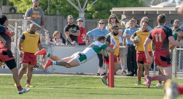 Garrett Brewer diving for the try in league opener. (Photo by Pink Shorts Photography 2016).