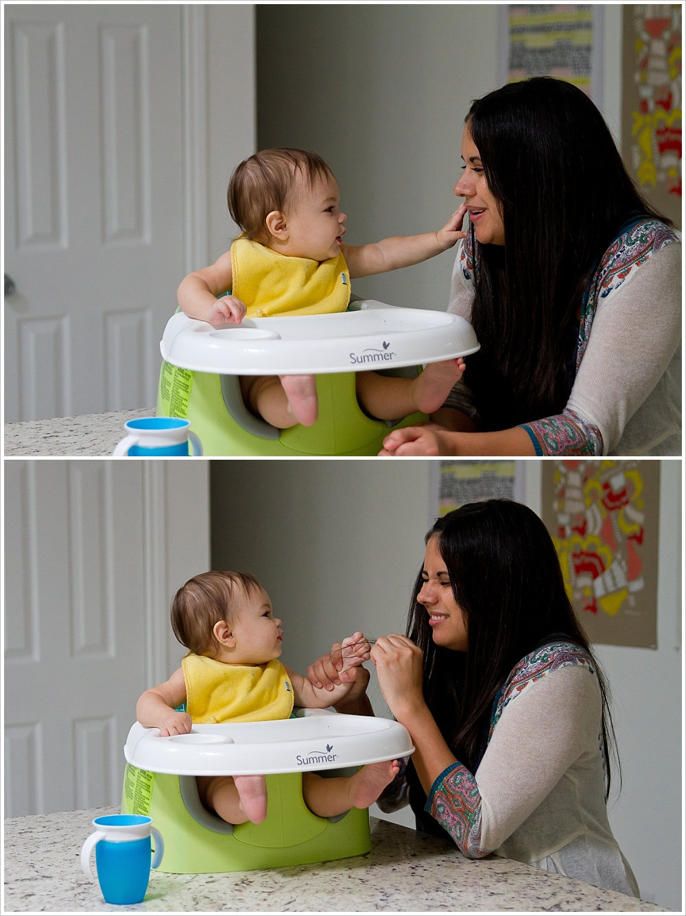 baby and mom in kitchen | lifestyle family photography in Cedar Park, Texas | Jason & Melaina Photography