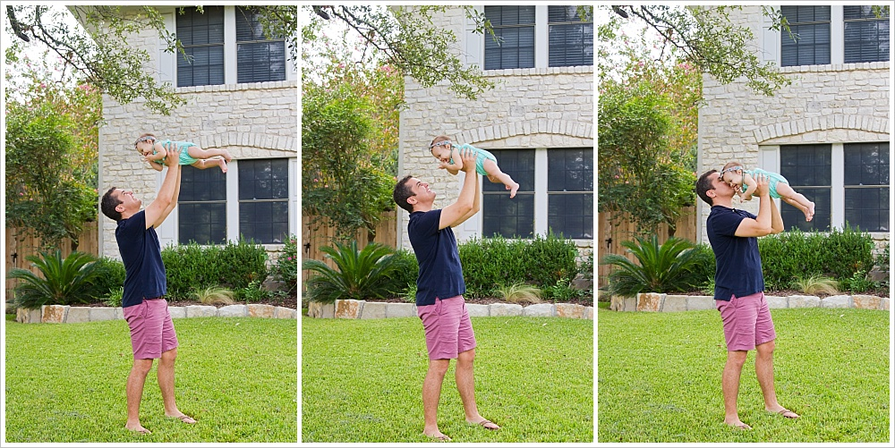 dad and baby playing on front lawn | lifestyle family photography in Cedar Park, Texas | Jason & Melaina Photography