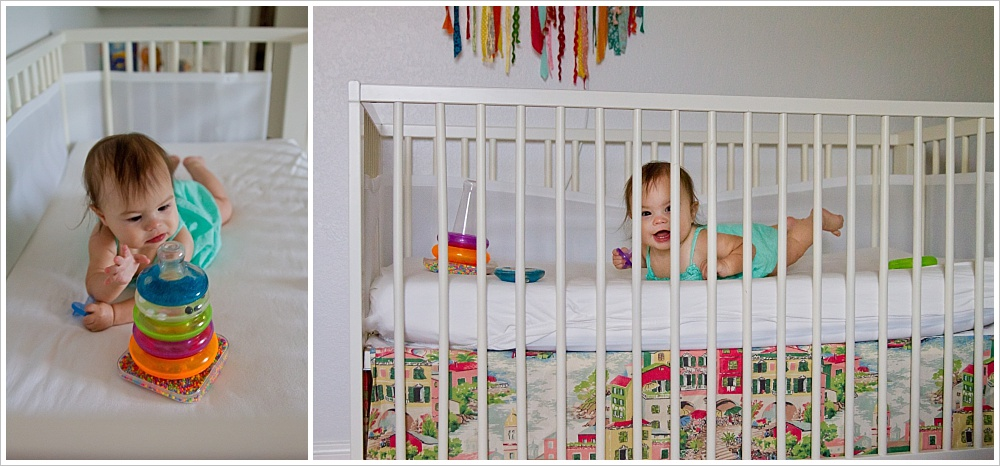 baby playing in crib | lifestyle family photography in Cedar Park, Texas | Jason & Melaina Photography