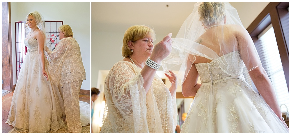 mother of the bride helping bride in dress | Carleen Bright Arboretum wedding venue in Woodway, TX | Jason & Melaina Photography