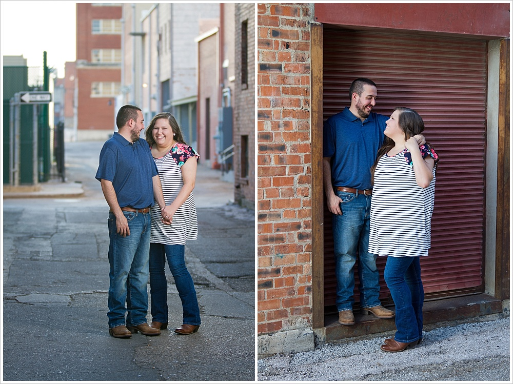 fiances laugh together | alley in downtown Waco, Texas | Jason & Melaina Photography