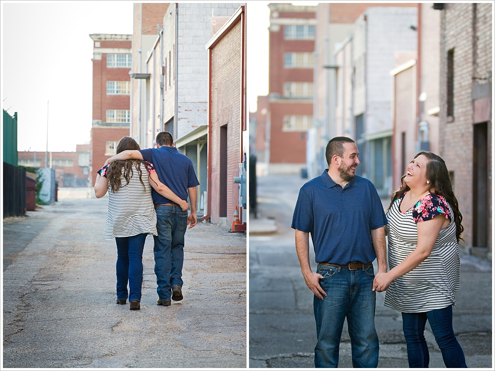 couple walks arm in arm | alley in downtown Waco, Texas | Jason & Melaina Photography