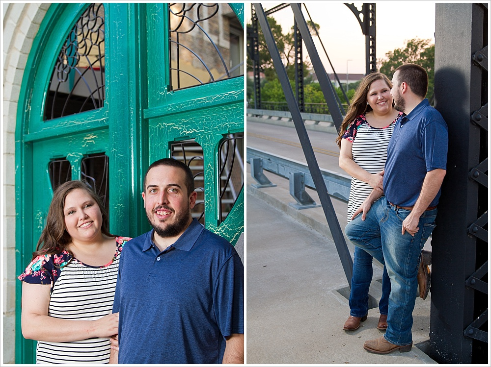 couple poses on Washington Street bridge | downtown Waco, Texas | Jason & Melaina Photography