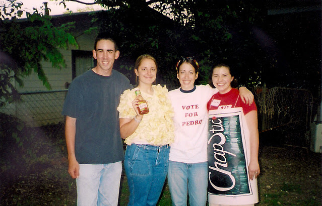 Scanned photo of us at a friend's Napoleon Dynamite theme party. So much 2004 in this picture.