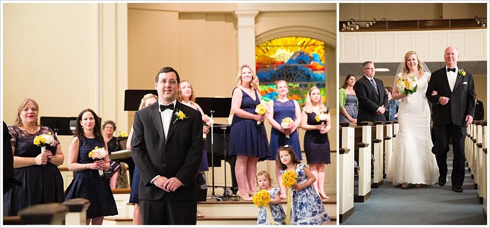 bride walking down the aisle | Calvary Baptist Church, Waco, TX | Jason & Melaina Photography