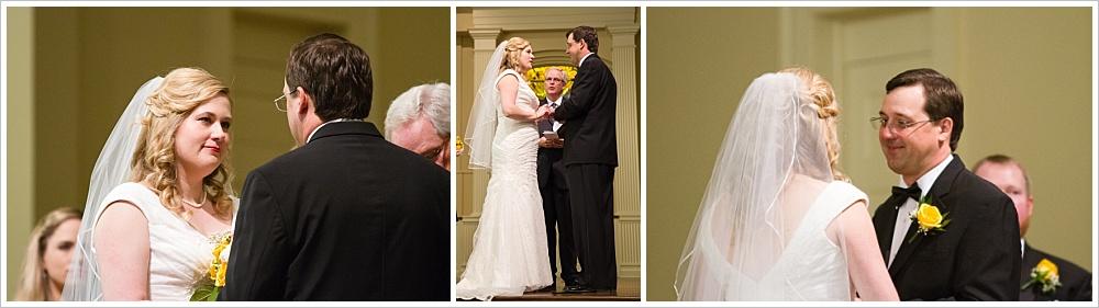 bride and groom look at each other during ceremony| Calvary Baptist Church, Waco, TX | Jason & Melaina Photography