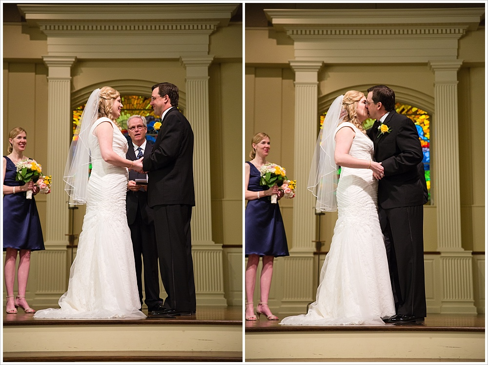bride and groom kiss | Calvary Baptist Church, Waco, TX | Jason & Melaina Photography