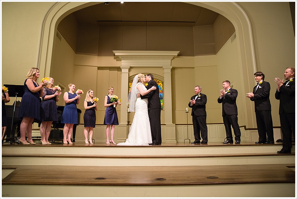bride and groom kiss | Calvary Baptist Church, Waco, TX | Jason & Melaina Photography