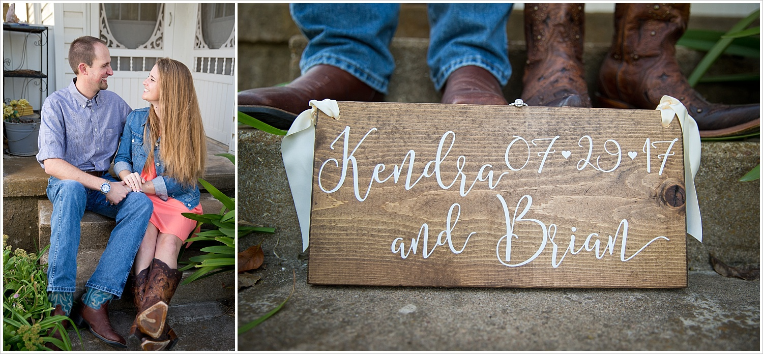 a wood sign with a bride and groom's names and wedding date | West, Texas Engagement Portraits | Jason & Melaina Photography