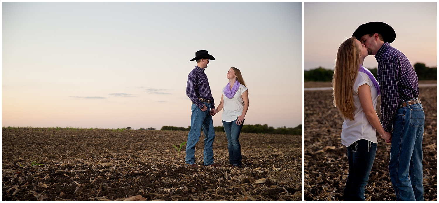 a couple stands in an open field and kisses | West, Texas Engagement Portraits | Jason & Melaina Photography
