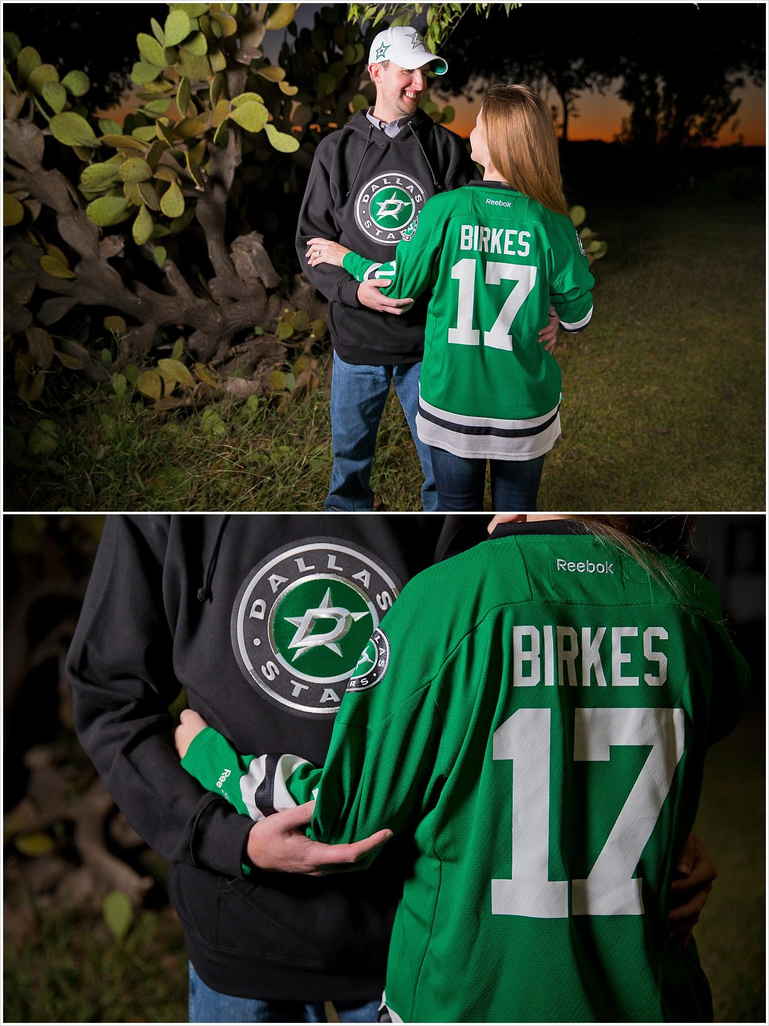 a couple shows off their Dallas Stars apparel | West, Texas Engagement Portraits | Jason & Melaina Photography