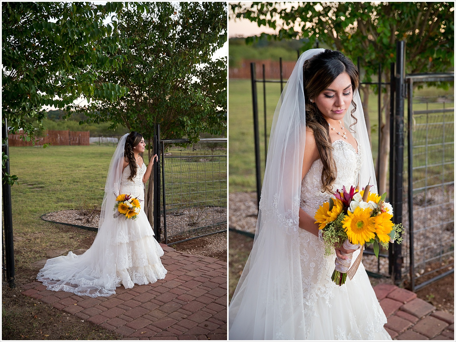 bride poses with sunflower bouquet | Vera Estates in China Springs, Texas | Jason & Melaina Photography