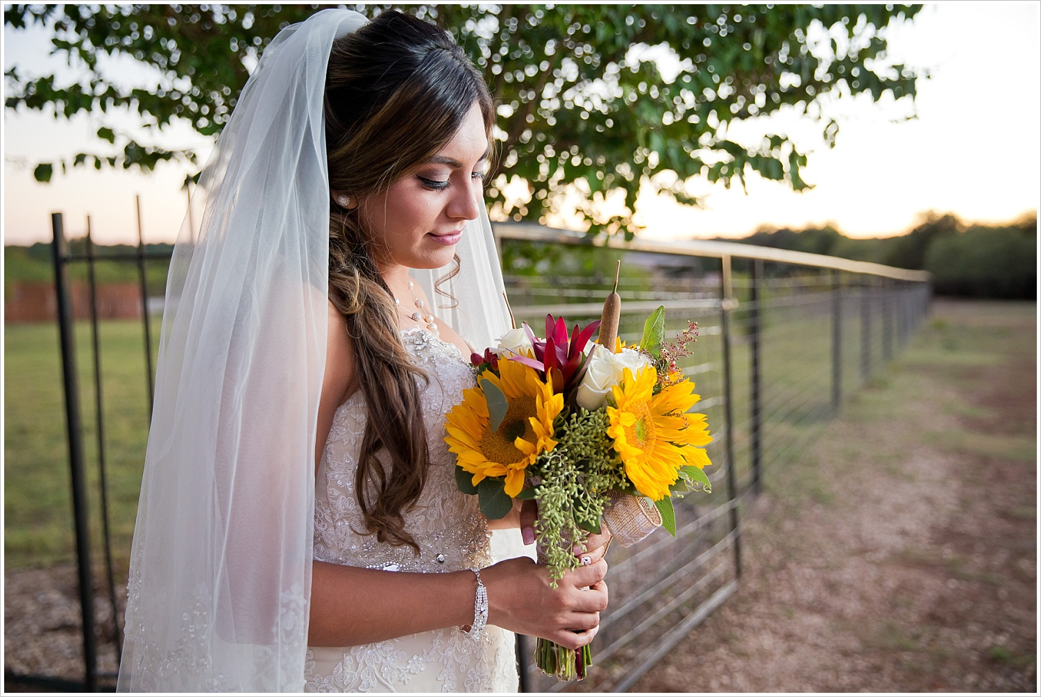 sunflower bridal bouquet | Vera Estates in China Springs, Texas | Jason & Melaina Photography