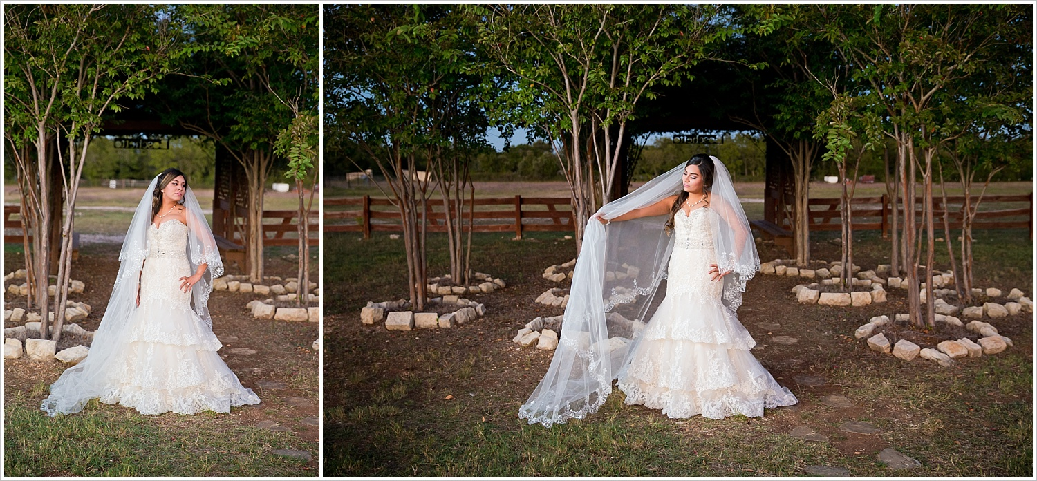 bride in lace gown and cathedral veil | Vera Estates in China Springs, Texas | Jason & Melaina Photography