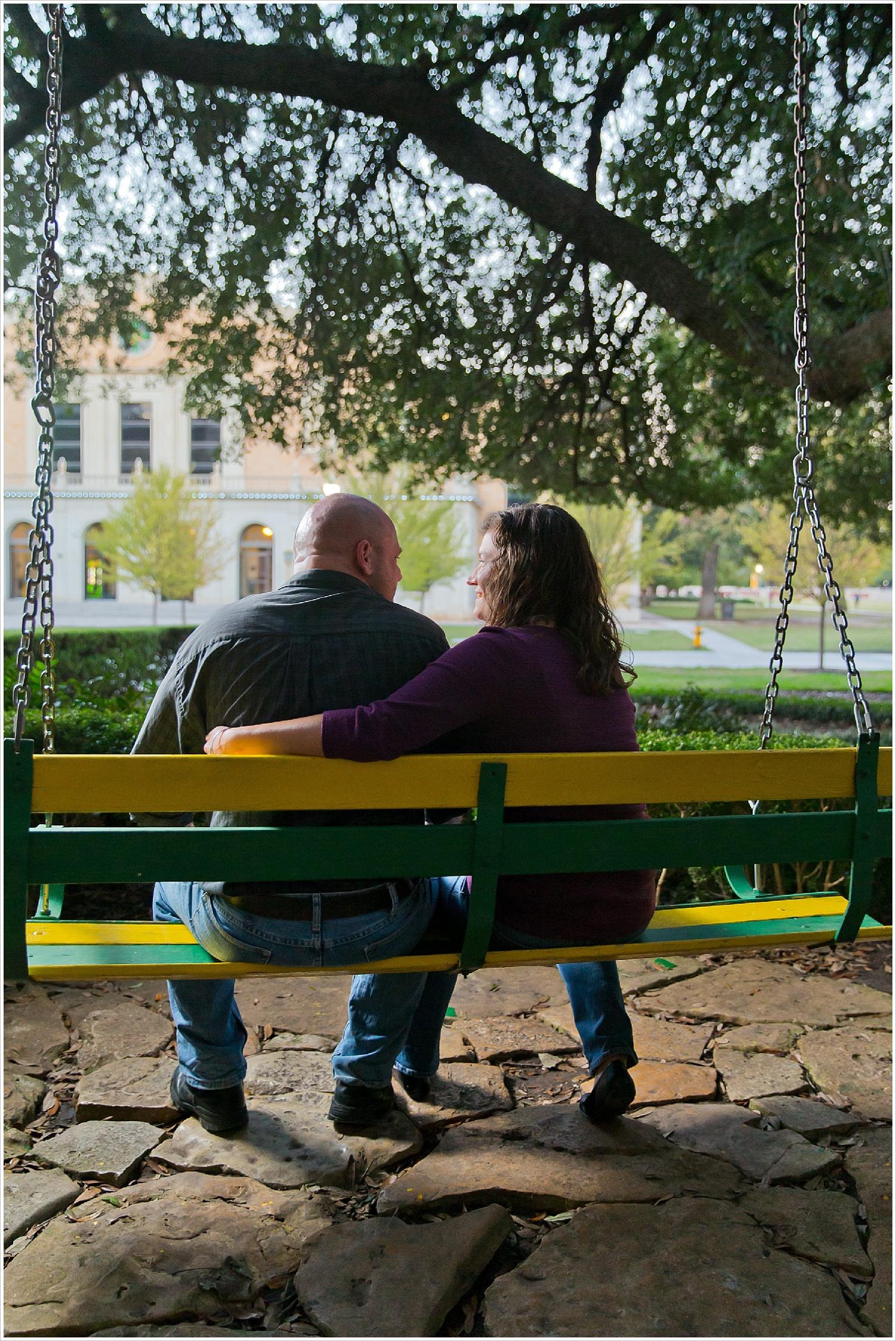 engagement portraits on green and gold swings at Baylor | Waco, Texas | Jason & Melaina Photography