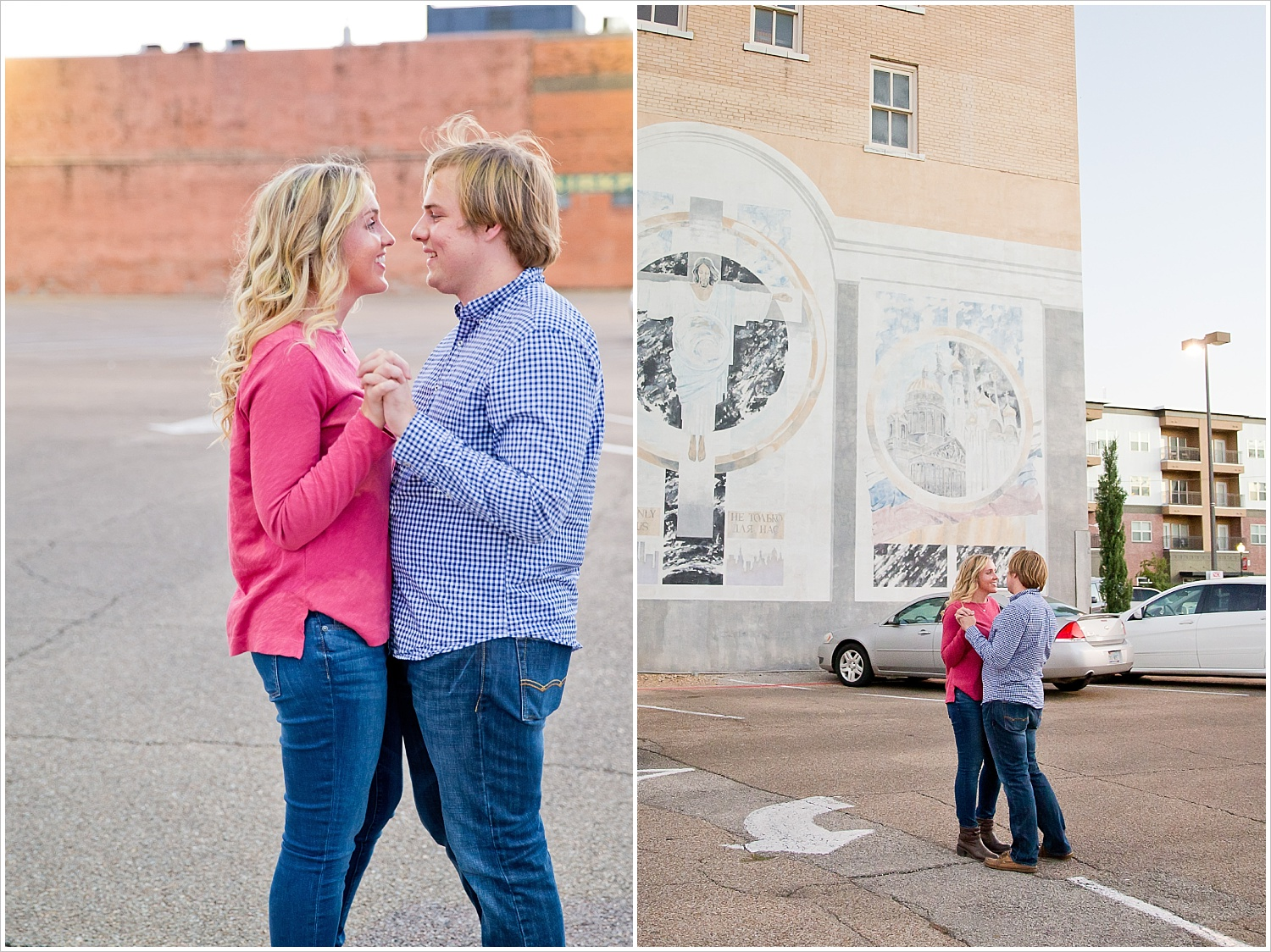 Couple dancing in parking lot downtown | Love Photography in Waco, Texas | Jason & Melaina Photography