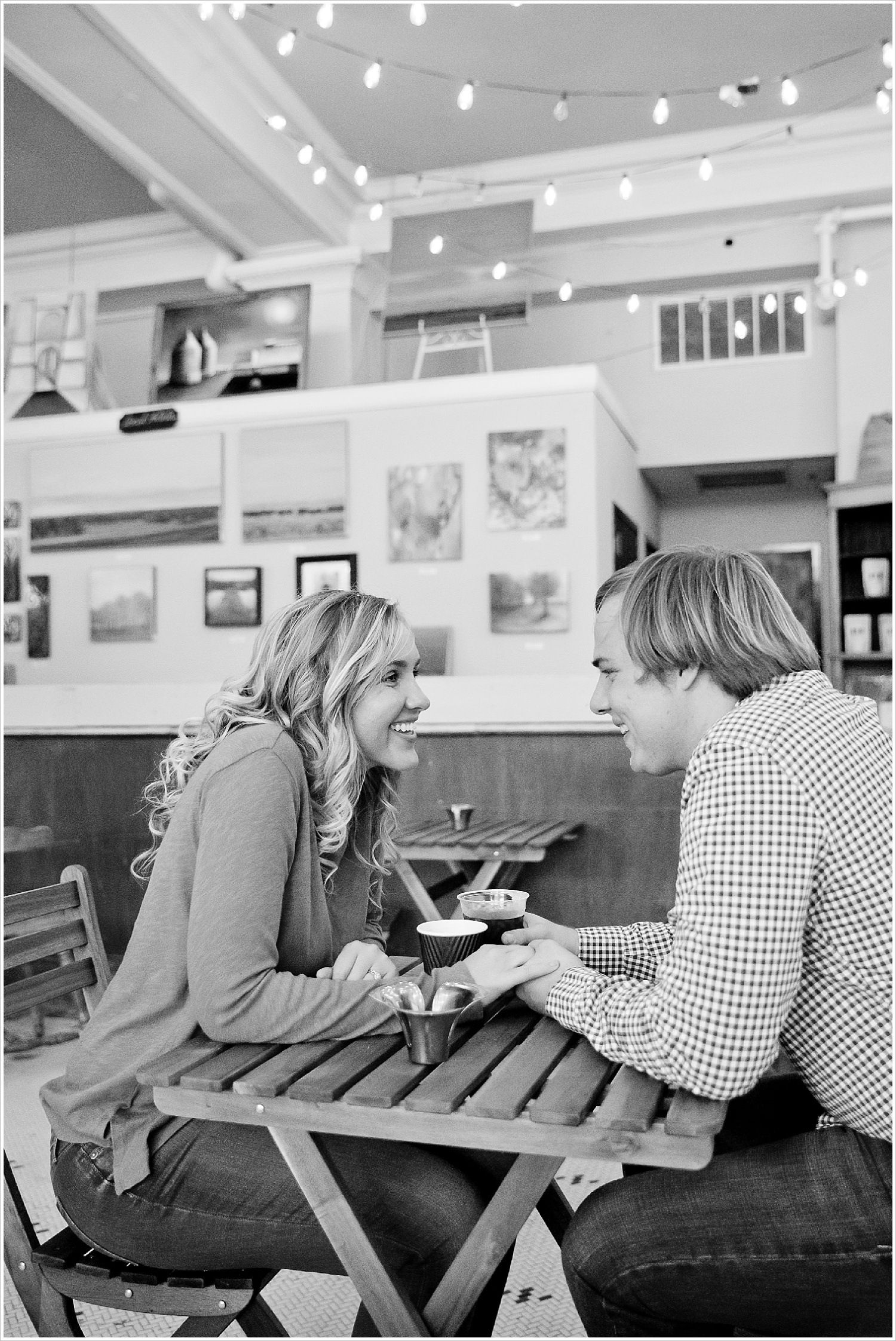 Couple hold hands at coffee shop | Love Photography in Waco, Texas | Jason & Melaina Photography