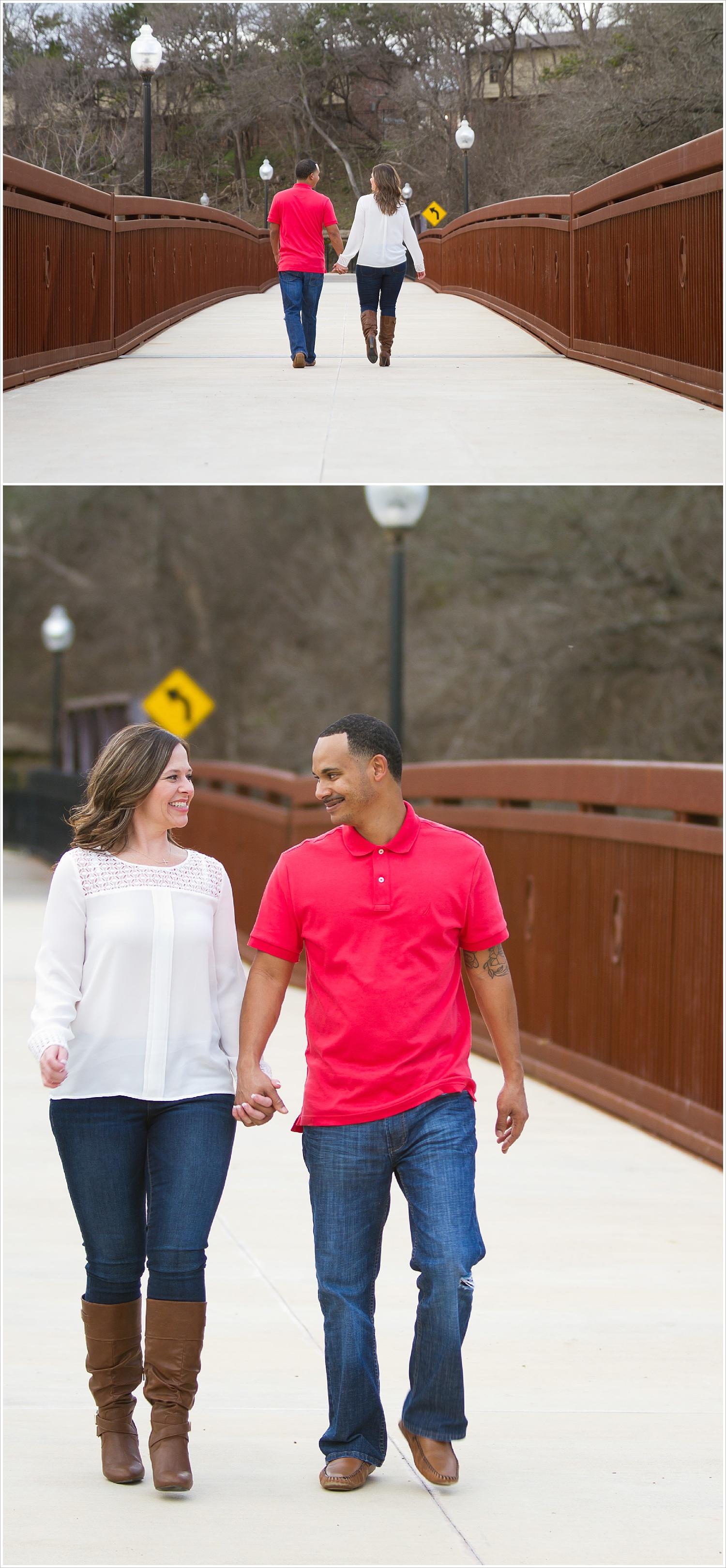 Couple walks hand-in-hand on bridge overlooking creek in Belton, Texas
