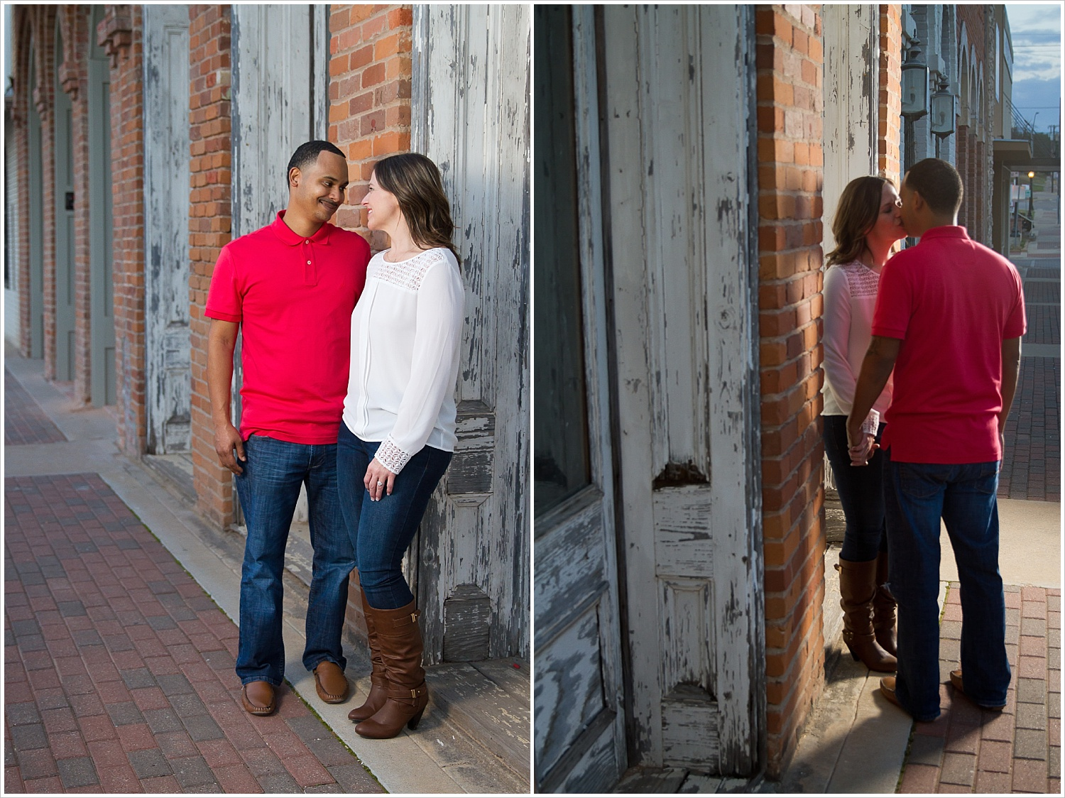 Couple kisses on sidewalk during engagement portraits in downtown Belton, Texas