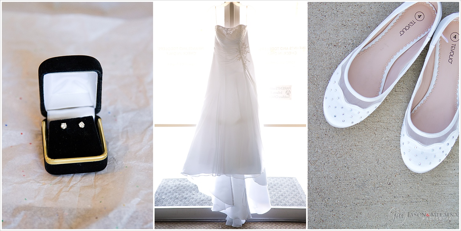 Brides earrings, wedding gown, and shoes at Antioch Community Church wedding in Waco, Texas