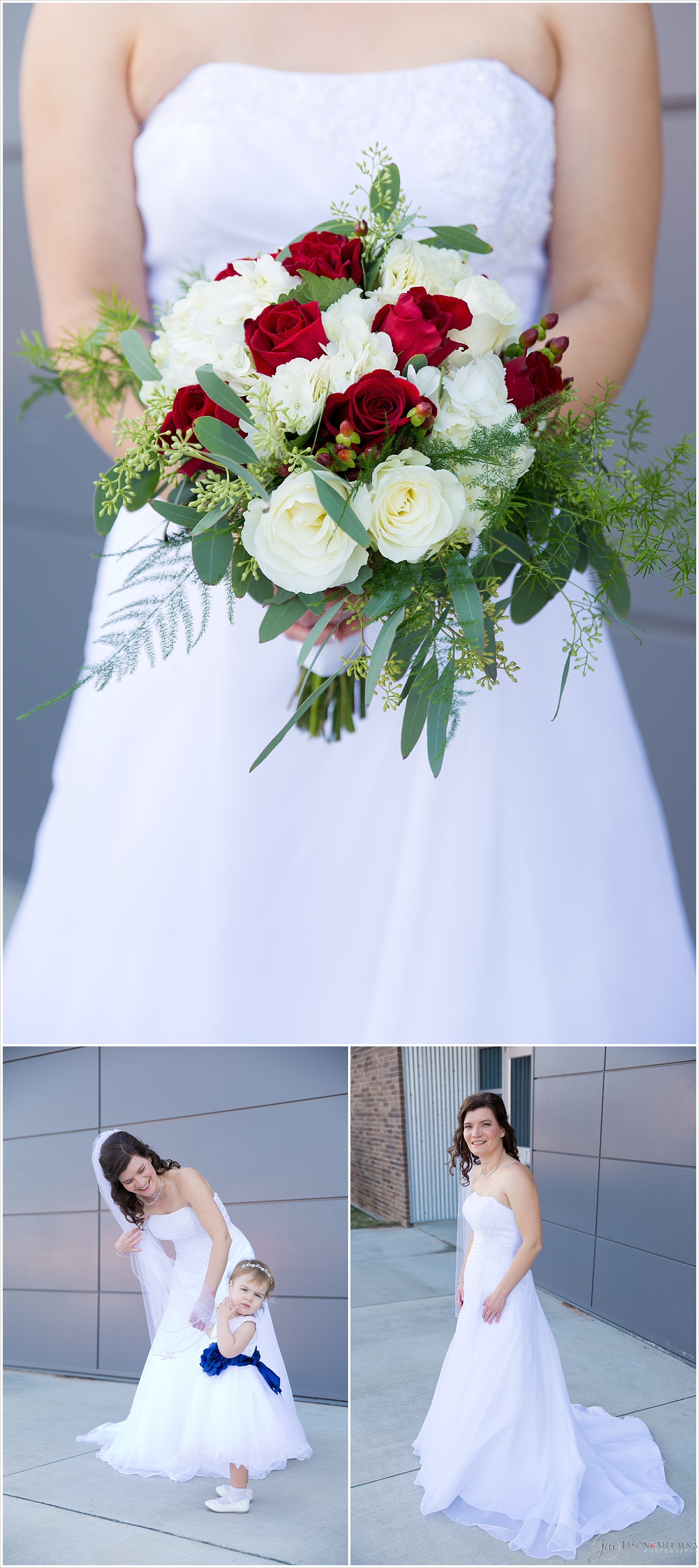 Bride's bouquet, and bride poses with flower girl