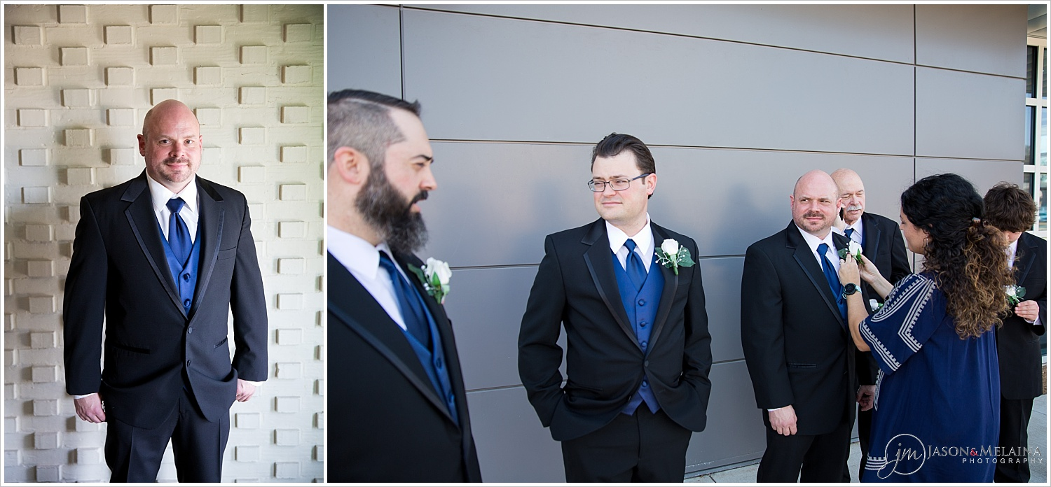 Groom and groomsmen getting prepared for portraits, Antioch Community Church in Waco, Texas