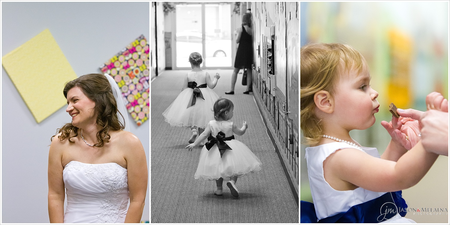 Candid portraits of bride and flower girls prior to ceremony