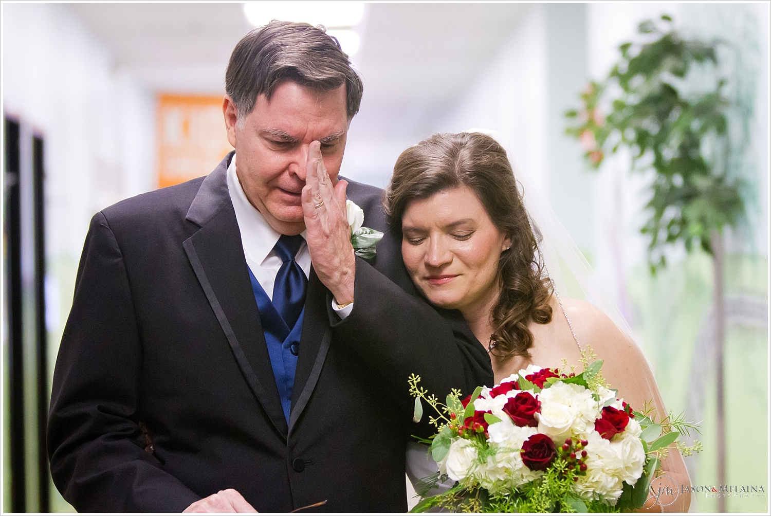 Bride's father cries while talking with bride before walking her down the aisle