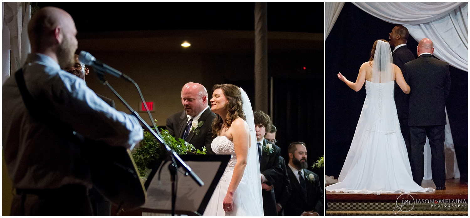 Bride and groom sing worship songs during their wedding ceremony at Antioch Community Church in Waco, Texas