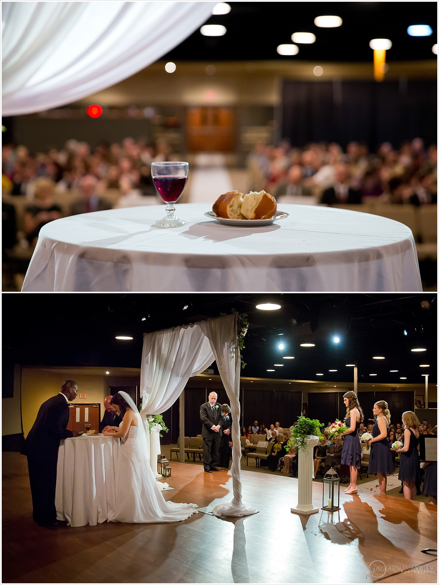 Bride and groom take communion at their wedding ceremony at Antioch Community Church in Waco, Texas