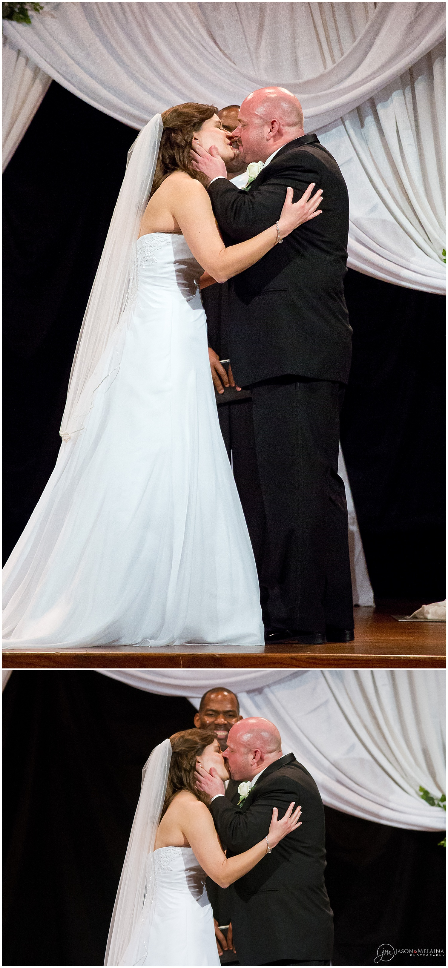 Bride and groom kiss during wedding ceremony at Antioch Community Church in Waco, Texas