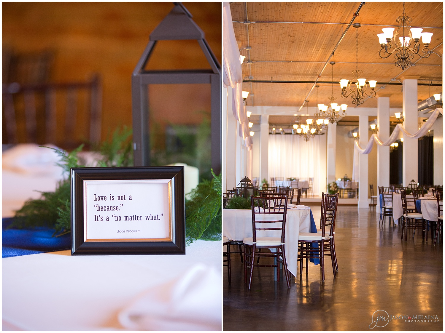 white and navy table decor for a wedding reception inside The Palladium in Waco, Texas