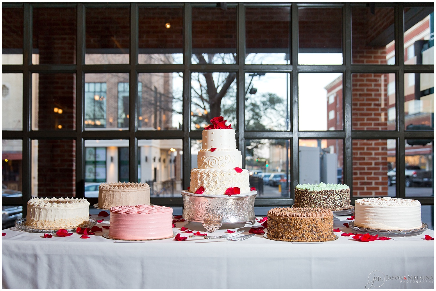 Bridal cake with multiple groom's cakes, The Palladium, Waco, Texas