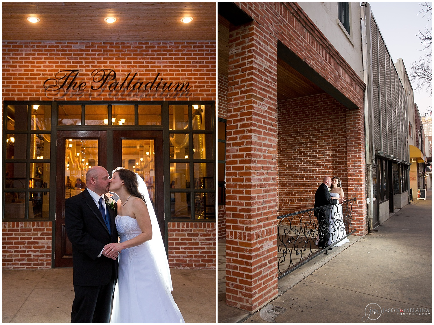 Bride and groom kiss outside The Palladium in Waco, Texas