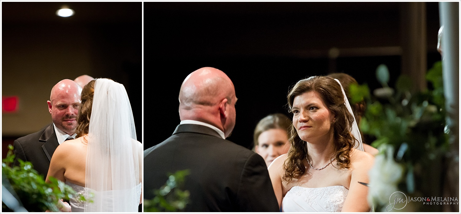 Bride and groom exchange vows, Antioch Community Church, Waco, Texas