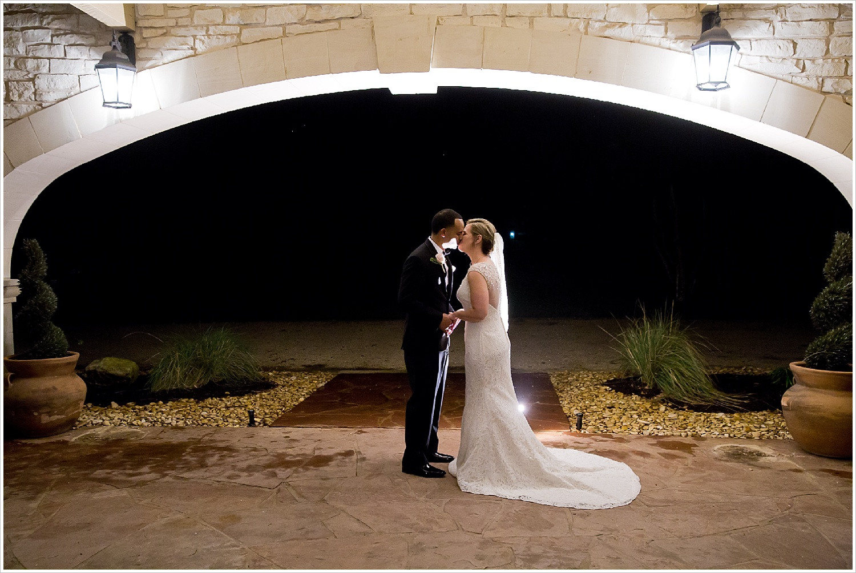 Bride and Groom kiss after wedding at La Rio Mansion