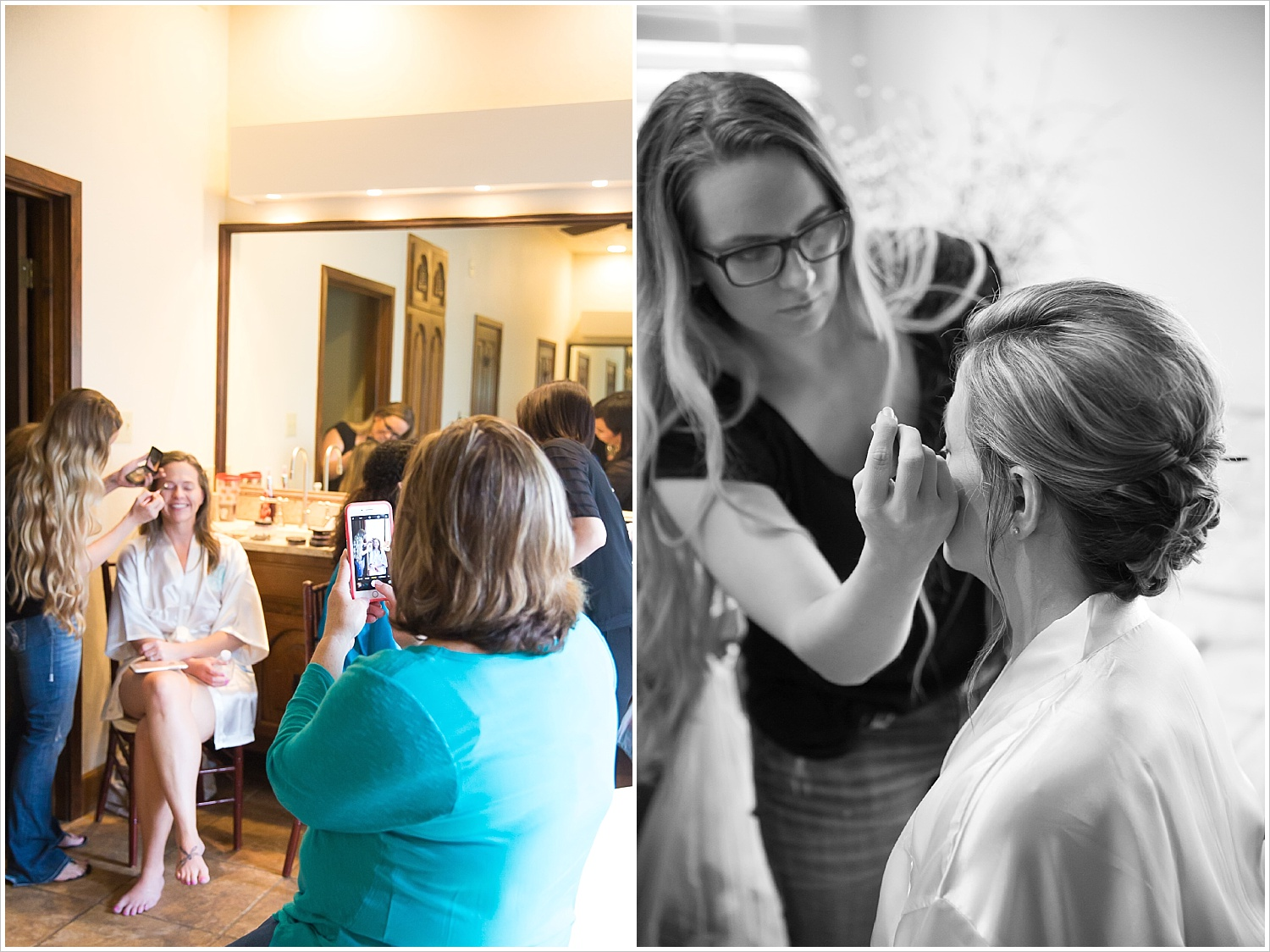 Bride gets hair and makeup done by Salons by Karen before her wedding at La Rio Mansion