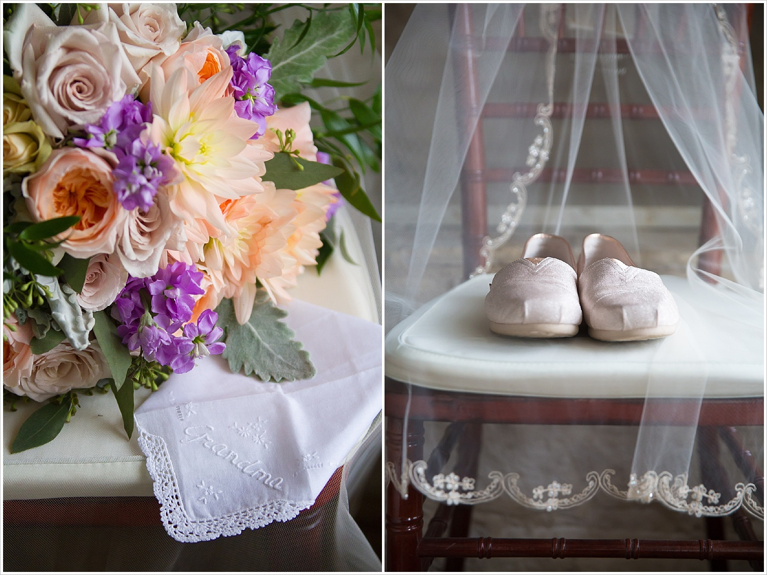 Bride's bouquet, wedding day shoes, and Grandmother's handkerchief