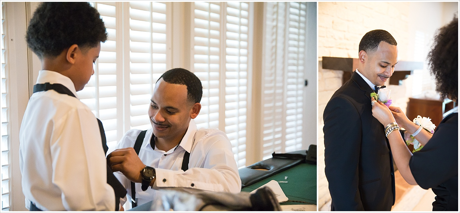 Groom helps his son into his tux, groom's sister pins on his boutonniere