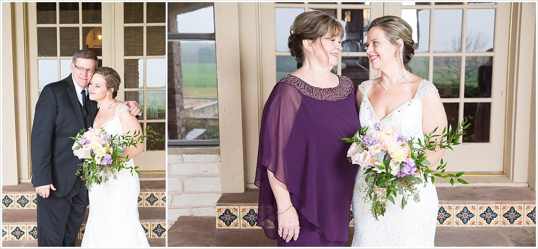 Bride with parents before wedding ceremony at La Rio Mansion