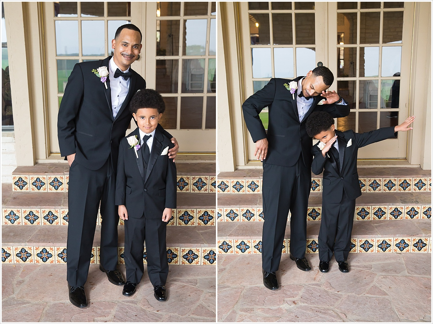 Groom and his son, the ring bearer, pose and dab before ceremony