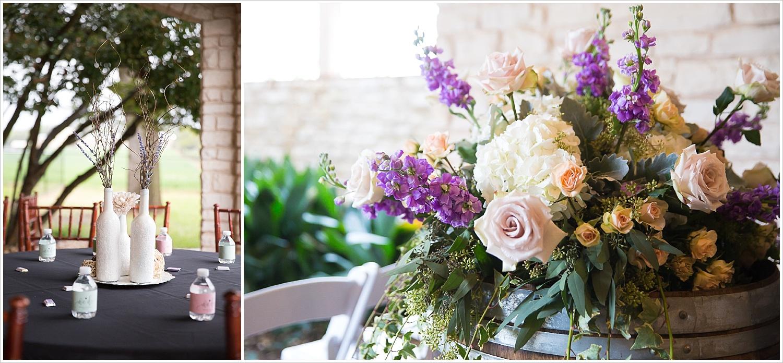 Painted white vase centerpieces, large floral arrangement on top of wine barrel